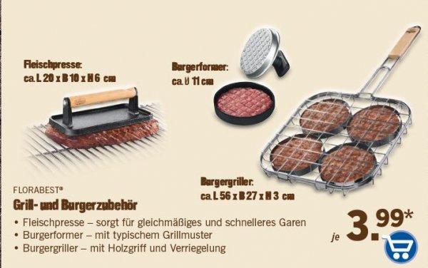 Burgerpresse, Burgergriller, Fleischpresse und Grillguthalter ab 23.04. für je 3,99 @ LIDL (on- und offline)