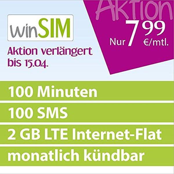 (Amazon Blitzangebot) Winsim LTE Mini Plus 2 Gb für 7,99€/Monat. Nur 4,95€ Anschlussgebühr  O2 Netz