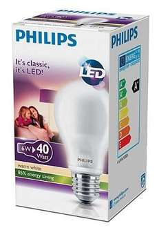 Philips Classic LED Lampe E27, 6W, warmweiß - 3,49€ + Versand