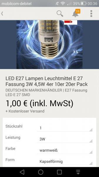 E27 Led-Birne Warmweiß 1€ + Kostenloser Versand