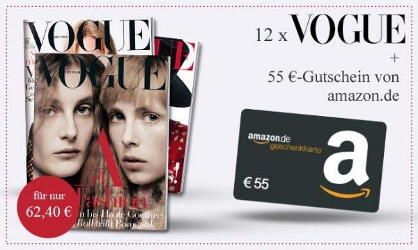 Vogue Jahresabo (12 Ausgaben)  + 55,- EUR Amazon.de Gutschein für 62,40 EUR (Effektiv 7,40 EUR)