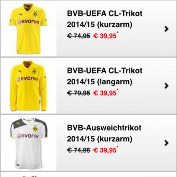 BVB UEFA Champions League Trikot 2014/15 (kurzarm/langarm)