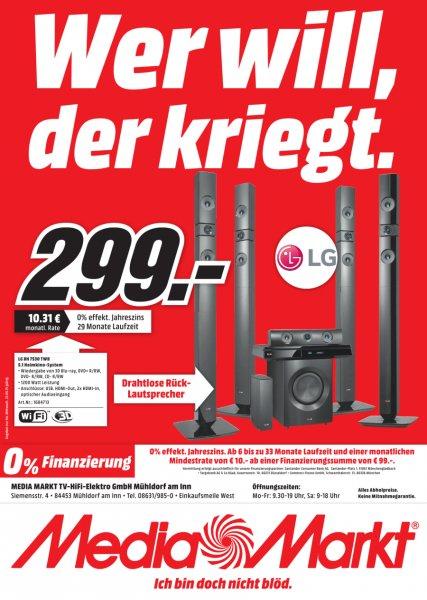 [lokal Mühldorf am Inn] LG BH7530TWB Heimkinosystem mit 5.1-Lautsprechersystem (1.200 Watt, Bluetooth, WLAN und Smart TV-Funktionen) für 299€ @ Media Markt