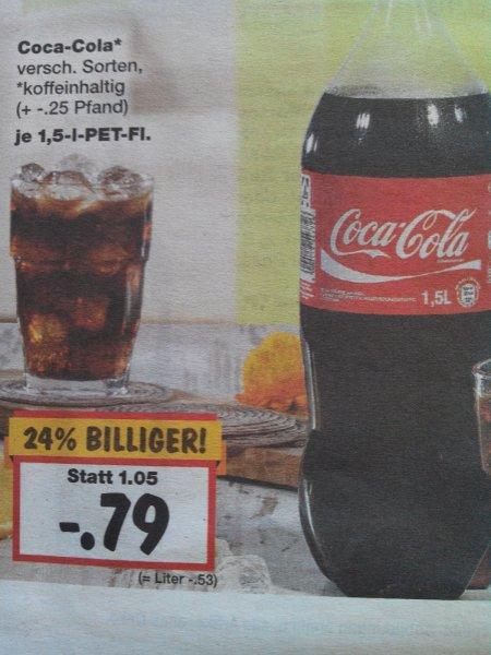 [Kaufland (regional Berlin Südwest)] Coca Cola 1,5L  für 0,79€ plus 0,25€ Pfand 53cent/L
