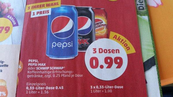 (Penny Bundesweit) Pepsi,Pepsi Max oder SchwipSchwap...3x0,33l Dosen für 0.99€