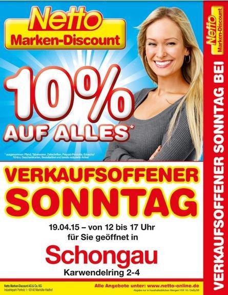 10% auf alles am 19.04.2015 bei Netto in 86956 Schongau