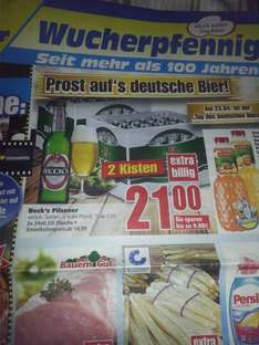 2 Kisten Becks Bier für 21€ plus 6,84€.Edeka Center (20.04-25.04)