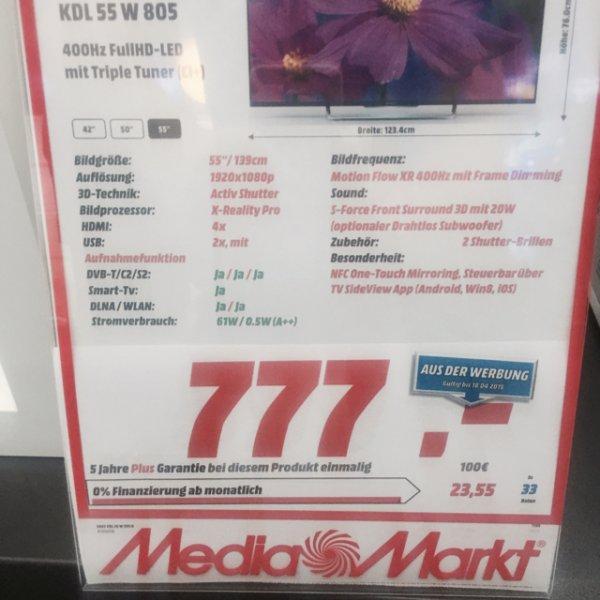 Sony KDL-55W805 o. Sony KDL-55W815 für 777€ MM