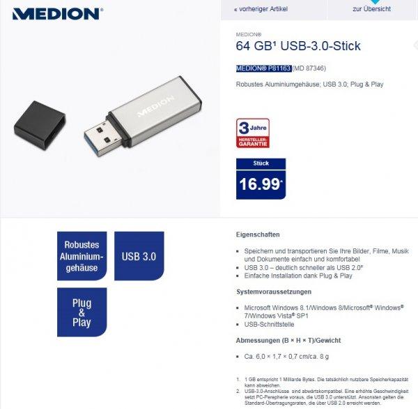 [ALDI NORD] ab 30.04. - USB -Stick Medion 64 GB USB 3.0 für nur 16,99