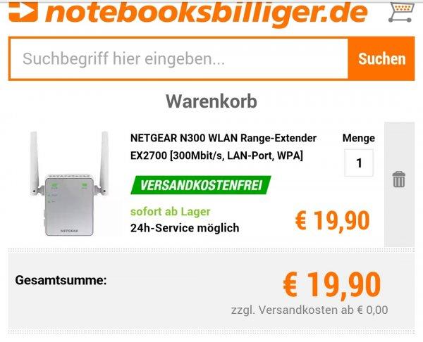 [notebooksbilliger.de] Wlan Repeater mit LAN-Port,  NETGEAR N300 WLAN Range-Extender EX2700  für 19,90€