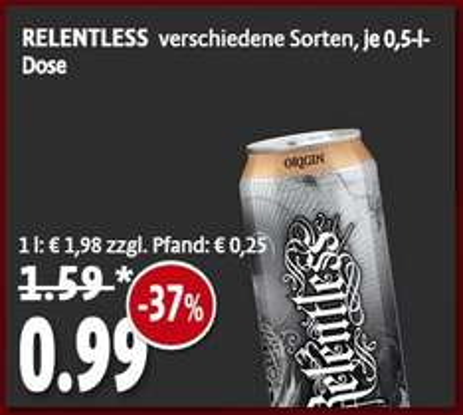 [Tengelmann Filiale] Relentless Energy Drink versch. Sorten 0,99 zzgl. Pfand
