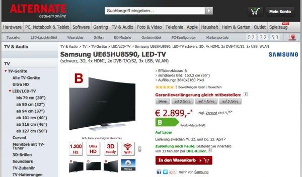[Alternate.de] Samsung UE65HU8590 Curved LED-TV 65 Zoll 4K 3D 4x HDMI 2x DVB-T/C/S2 3x USB WLAN für 2909 Euro (Geizhals: 2995 Euro)