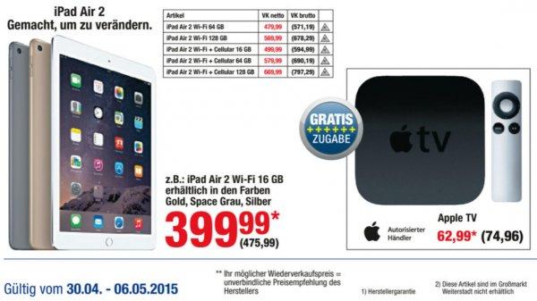 [METRO] iPad Air 2 16GB WiFi und Apple TV für insg. 475,99€ brutto