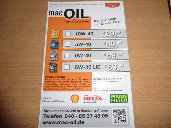 """Ölwechsel mit Shell Helix und Ölfilter bei """"mac OIL""""(Mr. Wash)"""