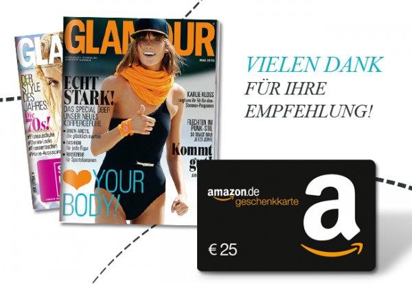GLAMOUR im 12 Monate Prämienabonnement mit 0,40 € Gewinn durch Amazon Gutscheinprämie @ abosgratis.de