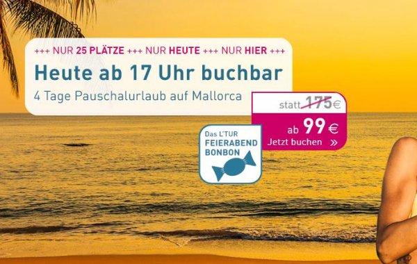 L'TUR: 4 Tage Mallorca mit Frühstück, Flug & Zug zum Flug 99€/Person