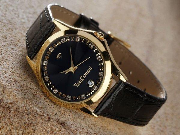 [Amazon] Yves Camani (302-GSG) Damen Quarz Uhr, schwarz-gold für 24,95€ inkl. Versand
