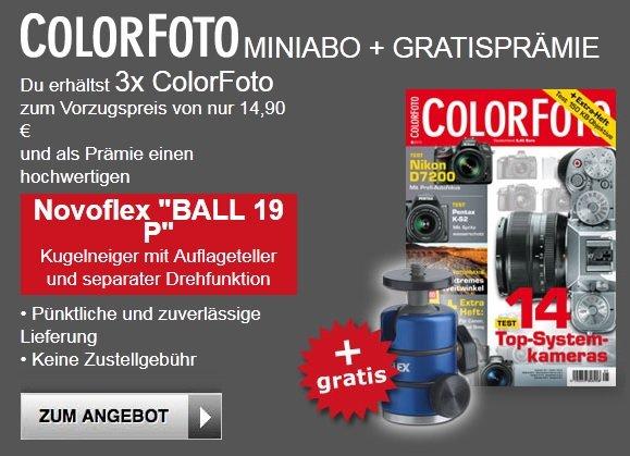 ColorFoto Miniabo mit Prämie im Wert von 26,99 Euro (Novoflex BALL 19 P Stativkopf) für 14,90 Euro