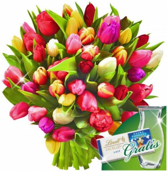 [floraprima] 20 Tulpen im Bund mit Vase & Lindt Schokolade für 22,94 EUR inkl. Versand (oder 30 Tulpen für 27,94 EUR)