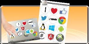 Ein Bogen Sticker / Aufkleber mit einigen bekannten Symbolen bei PPEDV + mögliche Vergünstigung