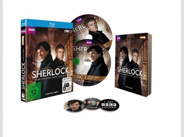 [Saturn.de] Sherlock - Staffel 3 (SATURN Exklusiv / 3-teiliges Button-Set) - (Blu-ray) für 13,99 EUR