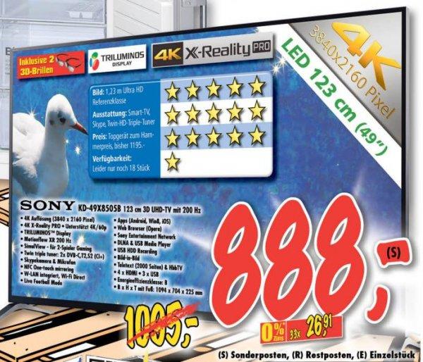 "(Lokal Esslingen/Deizisau) Sony 49"" 4K 3D KD-49X8505b für 888€ (-19,2%) bei Technoland!"