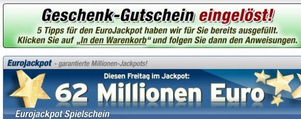 Kostenlos 5 x EuroJackpot zu 2 Euro bei Faber spielen (Wert 4,16€)