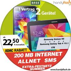 Handyflash:BASE all in Light mit Samsung Galaxy S5 plus Galaxy Tab 4 10.1 LTE 22,50€ mtl. mit ADAC Vorteil