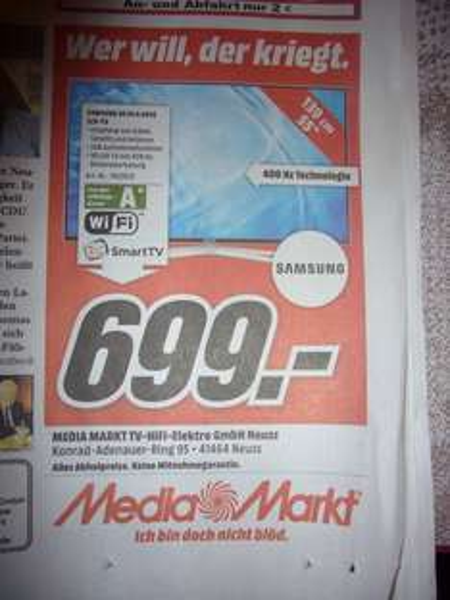 Media Markt Neuss (LOKAL!!!!) : Samsung UE55H6470 LCD TV