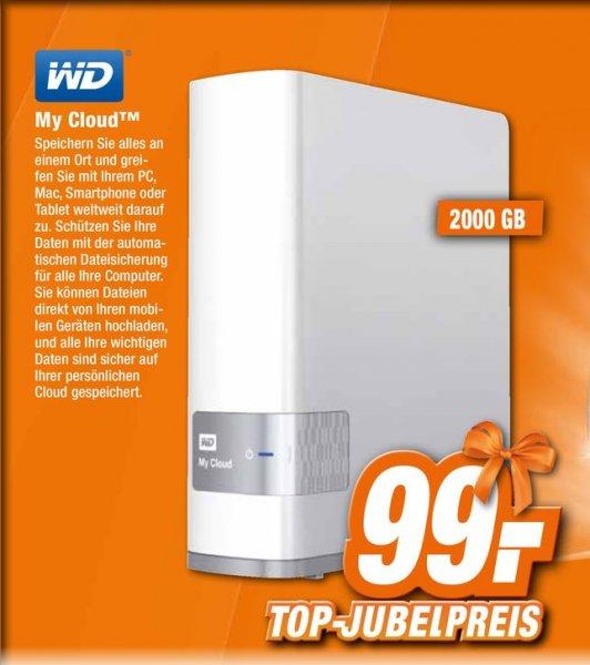 [Offline Expert Technikmarkt] WD My Cloud WDBCTL0020HWT - NAS-Server - 2 TB - HDD 2 TB x 1 - Gigabit Ethernet für 99,-€