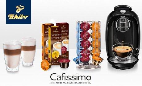 Tchibo Cafissimo PICCO inkl. 30 Kapseln, Kapselspender und 2 Latte Macchiato Gläsern für 42,40 €
