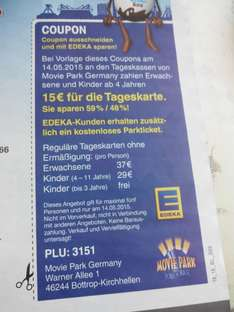 Edeka Tag im Movie Park Bottrop Tageskarte 15 Euro am 14.5.2015
