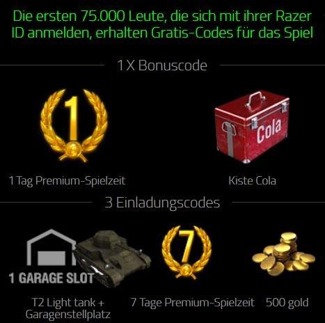 World of Tanks 1 Tag Premium und eine Kiste Cola für die Besatzung :) sowie drei Einladungscodes