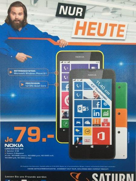 Saturn (Bundesweit TV-Werbung) Nokia Lumia 630 Dual Sim ab 74€ bei Abholung im Markt (Tagesangebot am Montag den 27.04.2015)