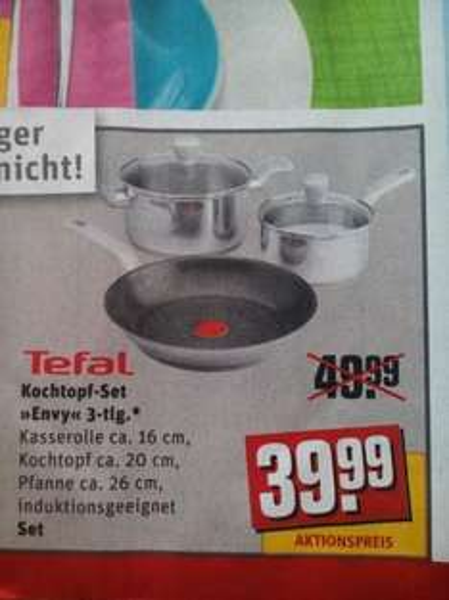 "[Rewe - bundesweit !?] Tefal Kochtopf-Set ""Envy"" 3-tlg. - Induktionsgeeignet - ca. 55% unter Preisvergleich"