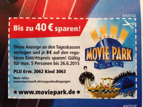 Movie Park pro Eintrittskarte 8€ sparen