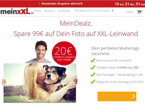 Nur am Sonntag - XXL Leinwanddruck 120x80cm für 27€ (Muttertagsangebot)