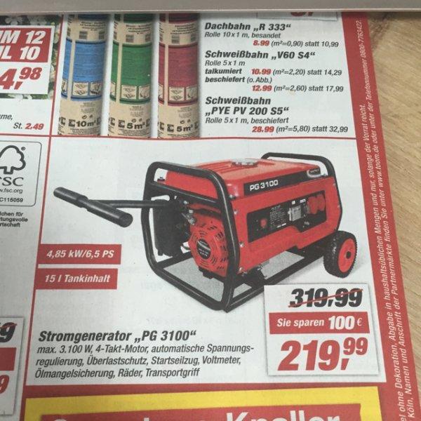 (Toom offline) Stromgenerator PG 3100 idealo 296€