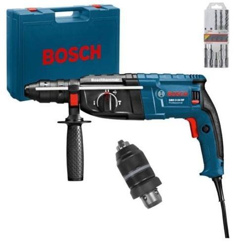 BOSCH Bohrhammer GBH 2-24 DF mit 5-tlg Bohrerset und Wechselbohrfutter im Koffer für 179,- Eur incl. Versand