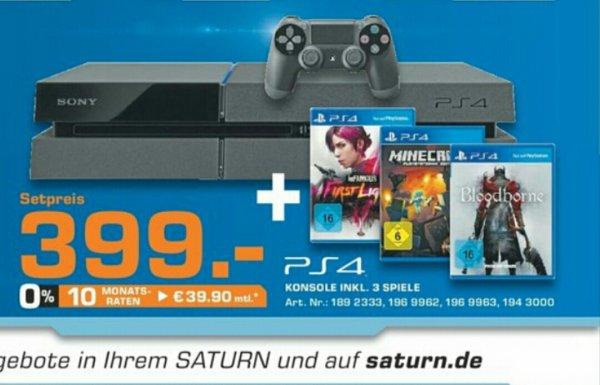 [Bundesweit + Online] Sony PS4 + 3 Spiele für 399€ @Saturn