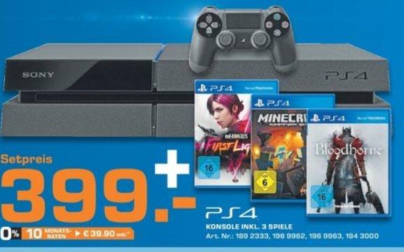 [Saturn Bundesweit] PlayStation 4 + Bloodborne + Minecraft + Infamous First Light für 399€ ab 27.04.2014