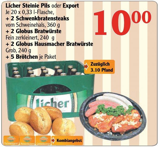 [lokal] Globus Hattersheim: 20 Licher + 2 Steaks + 4 Bratwürste + 5 Brötchen für nen 10er