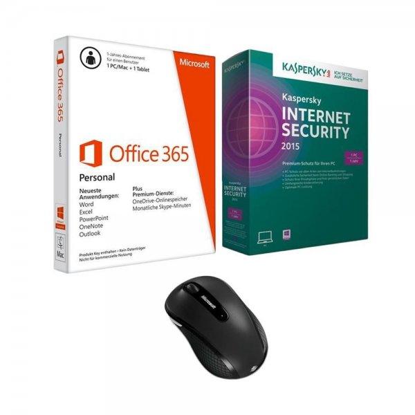 ebay.de -  Microsoft Office 365 Personal Bundle, + Kaspersky Internet Security 2015 + Microsoft Wireless Mobile Mouse 4000; 46,70 Euro gespart