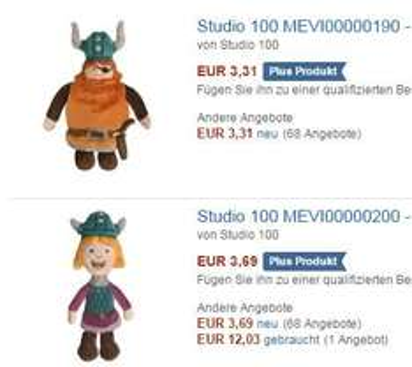 [Amazon Plus Produkt] Wickie Plüschfigur und Halvar Plüschfigur 20cm zusammen 7,00€ statt ab ca. 20€
