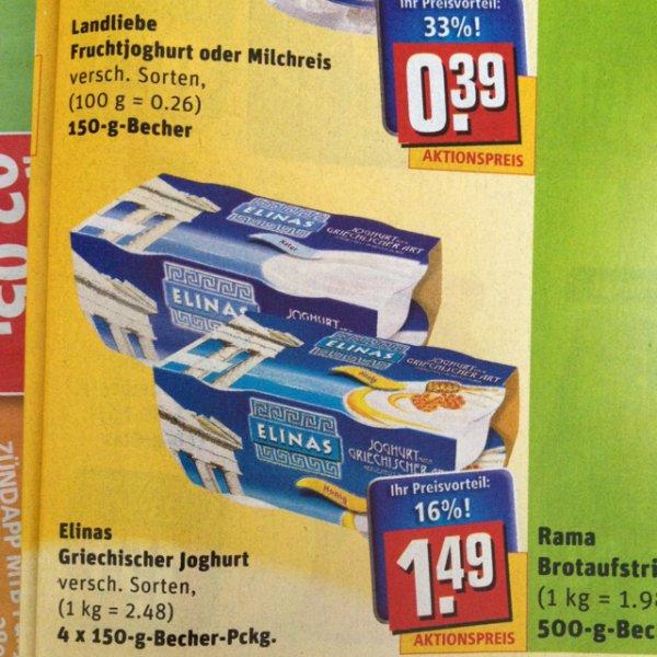 Elinas griech. Joghurt bei rewe 4x150g 1,09 durch scondoo