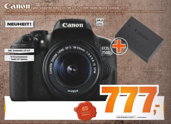 [Offline Expert-Bening Filialgruppe] Canon EOS 750D +EF-S 18-55 IS STM + Ersatzakku LP-E17 für 777,-€