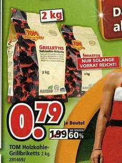 [Segmüller Weiterstadt - evtl. alle Häuser] 2 kg Holzkohle-Grillbriketts für € 0,79