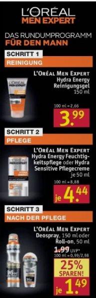 [Rossmann] L'Oréal Paris Men Expert Hydra Energy Feuchtigkeitspflege verschiedene Sorten für 3,10€