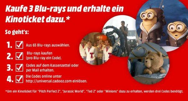 Media Markt: Kaufe 3 Blu-rays und erhalte ein Kinoticket dazu