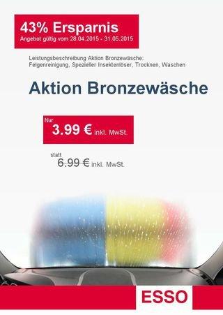 -LOKAL- 3,99 € Autowäsche Angebot Bronzewäsche ESSO Bad Säckingen statt 6,99€ beim download DankeTanke APP